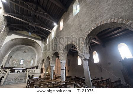 AGLIATE, ITALY - NOVEMBER 1, 2016: Agliate Brianza (Monza Lombardy Italy): interior of the medieval church of Saints Peter and Paul built from the 11th century