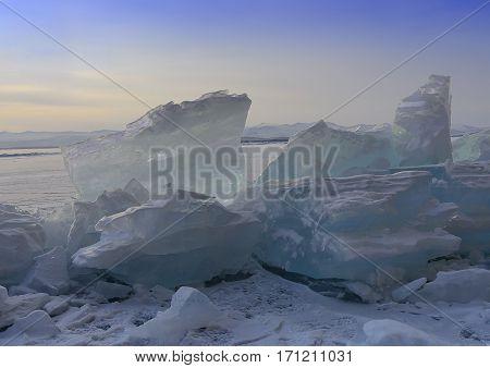 Siberia winter. Lake Baikal blocks of ice
