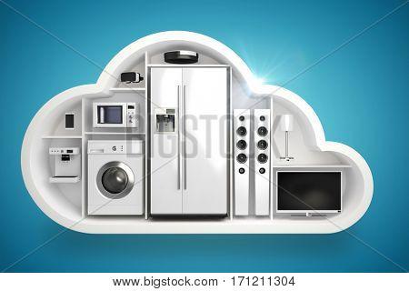 Appliance in cloud shape against blue vignette background 3d