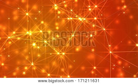 Abstract lines, dots and stars over a golden background. 3D rendering.