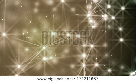 Abstract lines, dots and stars over a desaturated background. 3D rendering.