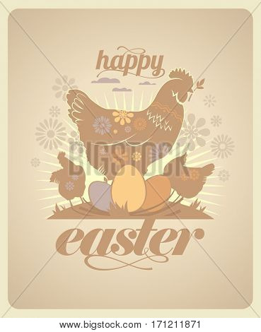 Happy Easter vintage design with hens and eggs, rasterized version
