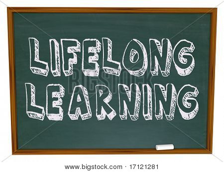 The words Lifelong Learning on a chalkboard