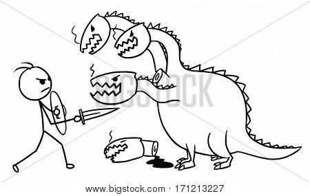Cartoon vector doodle stickman fighting with sword and shield with four headed dragon