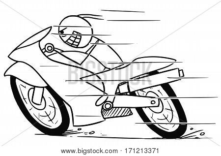Cartoon vector doodle mad stickman man riding powerfull motorbike fast