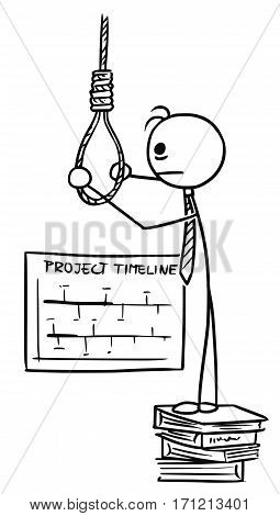Cartoon vector doodle stickman preparing the rope for hanging suicide becauseof tight working deadline