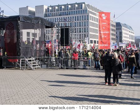 BERLIN GERMANY - FEBRUARY 14 2017: Demonstrators At Labor Union GEW Demonstration At Brandenburg Gate Berlin