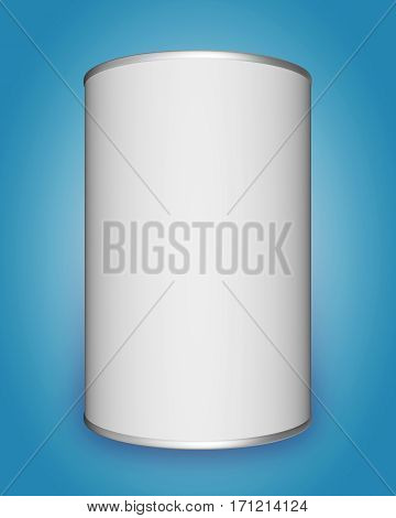 Tin can mock up on blue background. 3D rendering