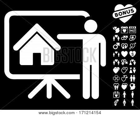 Realtor icon with bonus romantic pictograph collection. Vector illustration style is flat iconic white symbols on black background.