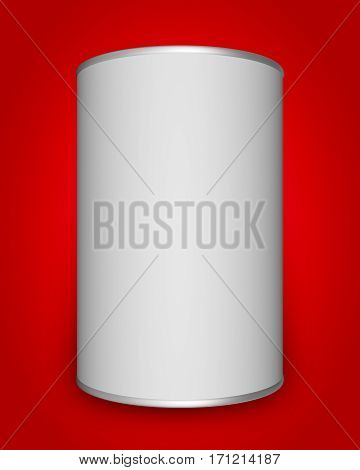 Tin can mock up on red background. 3D rendering