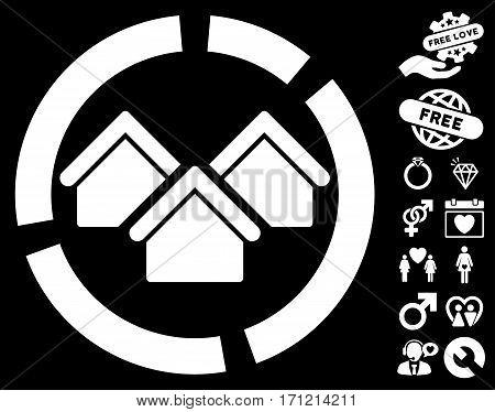 Realty Diagram pictograph with bonus dating symbols. Vector illustration style is flat iconic white symbols on black background.