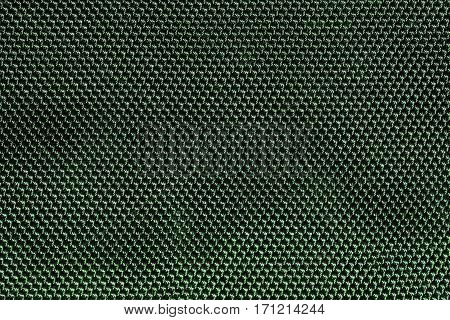 Green fishnet cloth material as a texture background. Nylon texture pattern or nylon background for design with copy space for text or image.