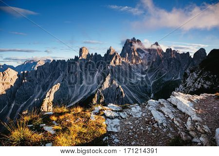 Scenic surroundings of the national park Tre Cime di Lavaredo. Dramatic and gorgeous scene. Location place Misurina range, Dolomiti alp, South Tyrol, Italy, Europe. Beauty world. Artistic picture.