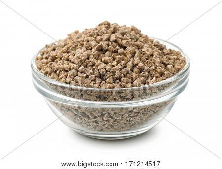 Bowl of pelleted compound feed isolated on white