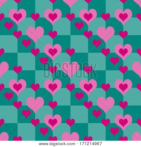 Romantic seamless background. Chequered pattern with pink hearts. Repeatable backdrop for valentines day decoration. Vector illustration.
