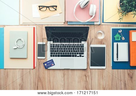 Business Desktop With Credit Card