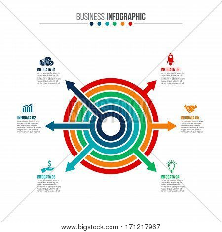 Vector circle infographic. Template for cycle diagram, graph, presentation and round chart. Business concept with 6 options, parts, steps or processes. Data visualization.