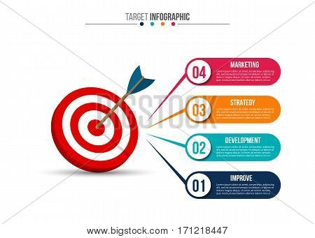 Infographic template with target and dart. Vector illustration. Can be used for workflow layout, diagram, business step options, banner, web design.