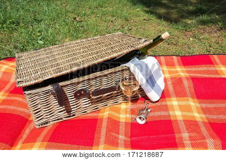 Picnic concept - bootle and glass of wine
