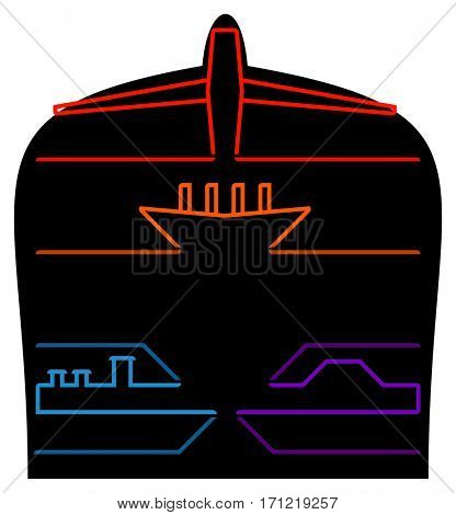Fright Transportation Infographic a simple professional design with creative textile symbols of plane ship train and car and place for titles and text
