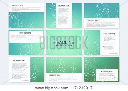 Big set of vector templates for presentation slides. Modern graphic background structure molecule and communication. Scientific pattern atom DNA. Medical, science, chemistry design