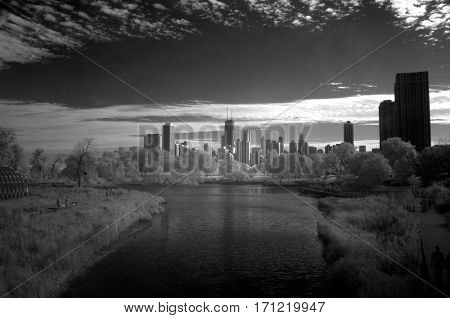 Chicago skyline infrared black and white under a clear blue sky