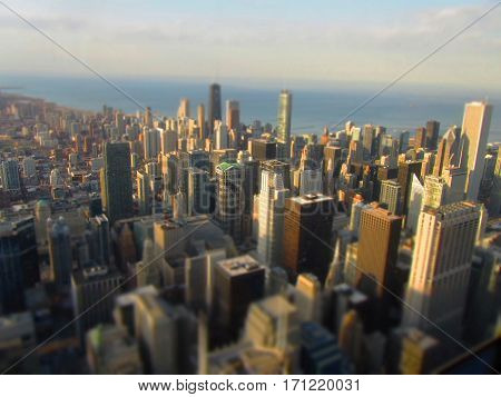 Tilt Shift Miniature effect Chicago at sunset blurred edges