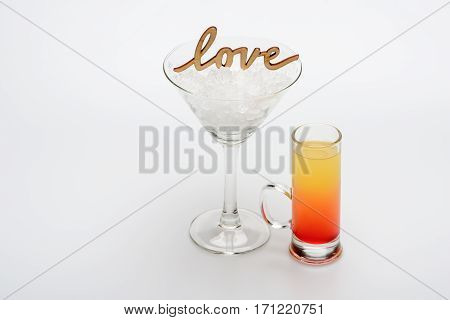 Coctail Sex On The Beach With Love Inscription And Wineglass