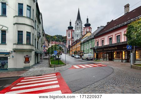 MARIAZELL/ AUSTRIA - OCTORBER 7. Shrine of Our Lady in city Mariazell - site of pilgrimage for catholics. Austria.
