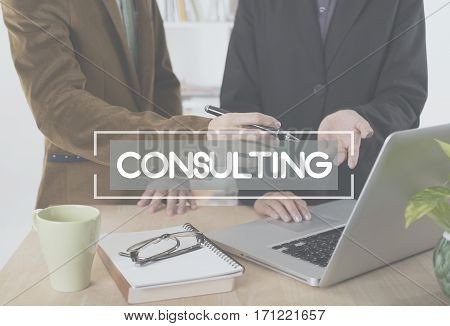business people talking discussing meeting in workplace. consult consultant consulting advice help concept