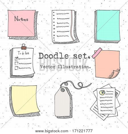 Hand Drawn Cartoon Vector Set Of Paper Sheet, Pack Of Paper, Tag, Sticky Note, Notepad Page With Pin