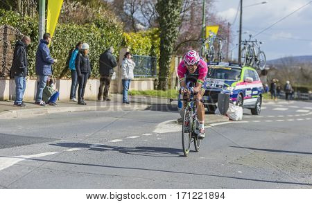 Conflans-Sainte-HonorineFrance-March 62016: The Italian cyclist Davide Cimolais of Lampre-Merida Team riding during the prologue stage of Paris-Nice 2016.