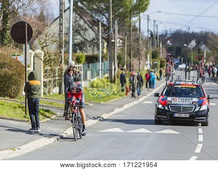 Conflans-Sainte-HonorineFrance-March 62016: The German cyclist Marcus Burghardt of BMC Racing Team riding during the prologue stage of Paris-Nice 2016.