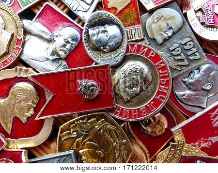 Yekaterinburg, Russia - February 14, 2017: Soviet badges depicting Vladimir Lenin. Collection. Closeup. Faleristics.