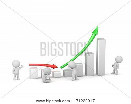 3D characters next to statistics showing good profit after slump. Isolated on white background.