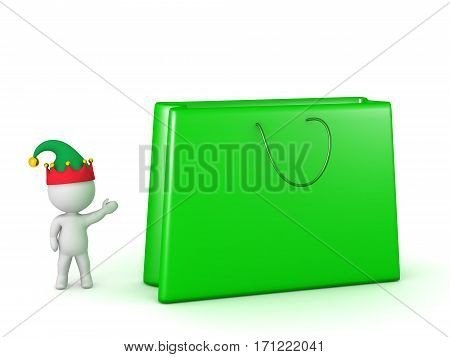 3D character in elf hat showing a large gift bag. Isolated on white background.