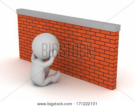 3D character sitting depressed next to a brick wall. Isolated on white background.