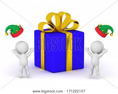 3D characters in elf hats are cheering next to a large wrapped gift box. Isolated on white background.