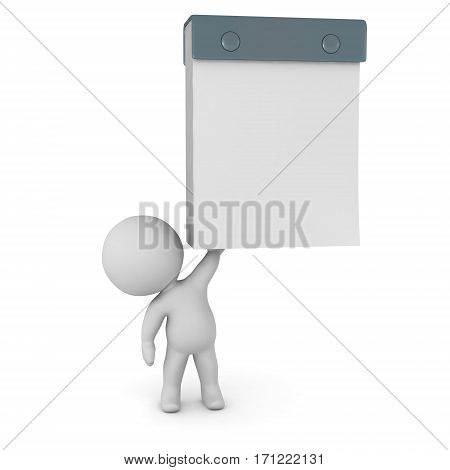 3D character holding up a large tear-off calendar with white empty page. Isolated on white background.