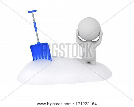 3D character is stuck in a snowbank. Isolated on white background.