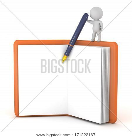 3D character with a large notepad and a fountain pen. Isolated on white background.