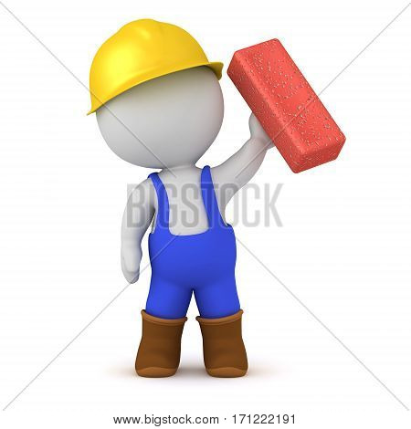 3D character dressed in overalls and hard hat holding up a brick. Isolated on white background.