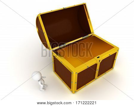 3D character and a large open chest. Isolated on white background.