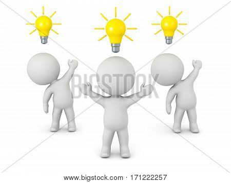 3D characters with light bulb ideas. Isolated on white background.