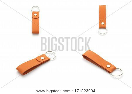 Collection Set Of Leather Key Chain Isolated On White Background