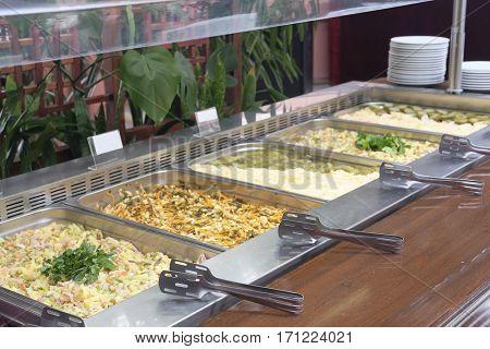 self-service buffet in a restaurant