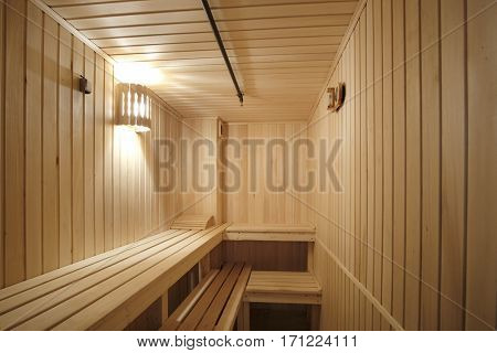 Interior of a sauna sweating-room