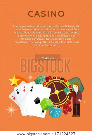 Casino poster with roulette wheel, coins dice money chips craps stars isolated on red. Gambling luck, fortune and bet, risk and leisure, jackpot chance. Casino banner. Vector illustration