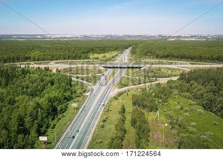 Vladimir road, Russia in aerial view summer