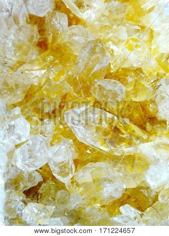 citrine natural quartz semigem geode crystals geological mineral isolated